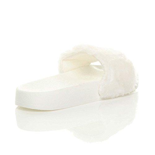 piatto sandali infradito pantofole comodo ciabatta Donna slides Bianca numero pelliccia adxq6Ww4