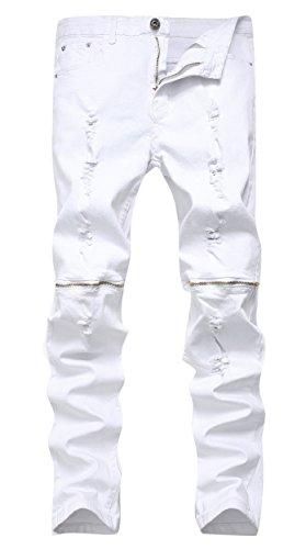 Qazel Vorrlon Men's White Biker Jeans Slim Straight Stretch Skinny Fit Moto Denim Jeans White A 30