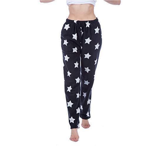Get The Trend Donna Pigiama Pantaloni da Casa Pantalone in File Cotone Star Pantaloni Stampa Abbigliamento da Notte