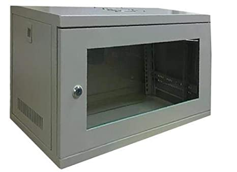 I-CHOOSE LIMITED 9U 19 Wall Mount Cabinet 450mm Deep Grey//Wall Mounted Rack with Lockable Glass Door//L-shaped Mounting Profiles