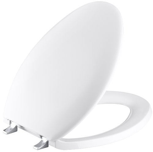 - KOHLER K-4685-CP-0 Bancroft Elongated Toilet Seat with Polished Chrome Hinges, White