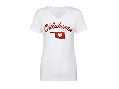 Luzreal Women's Oklahoma Red Glitter Shirt (State Tee Glitter)