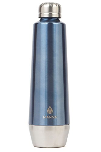 Manna Moda Metallic Stainless Steel Double Walled Vacuum Insulated 18 oz Water Bottle | No Sweat | BPA Free | Keeps Drinks Hot 12 Hours & Cold 24 Hours | For Office, Home or Camping - Shark