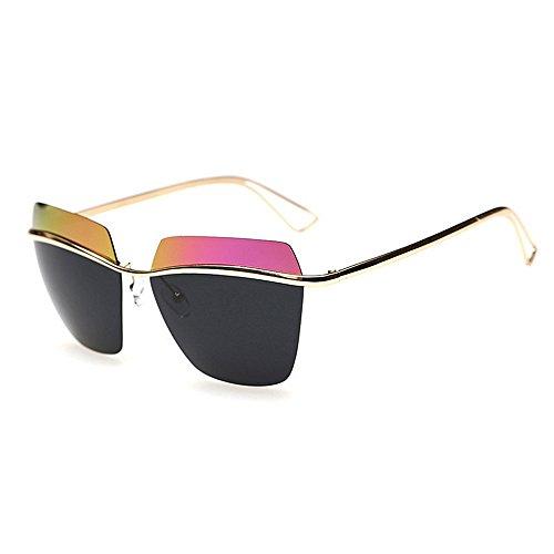 Style Pink Rétro Lunettes de Réfléchissante Couleur Pink Deux lentille Soleil Classique UV400 Yxsd Vintage Cadre Unisexe Protection Tons 8SnTq4TWw