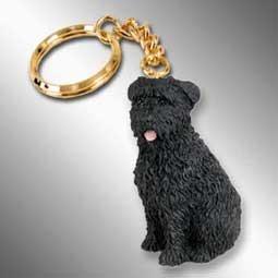 Bouvier Dog Figurine - Bouvier Des Flandres Dog Keychain - Uncropped Ears