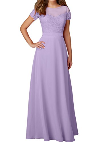 Ballkleid Damen Abendkleider Elegant Ivydressing Rundkragen Festkleider Aermeln Mit Lila Spitze 0w7dAdqn