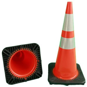 28'' Orange PVC road Cones with reflective bands, 6 pack by Pro Traffic Supply