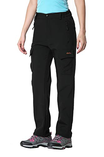 Pants Lined Womens (Clothin Women's Fleece-Lined Soft-Shell Cargo Pants - Water-Repellent, Wind-Resistant Black 10(33.5-35.5W29.5L/Regular))