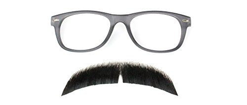 Hipster Costume Accessory Kit, Mustache(2015) Black/Glasses Gray