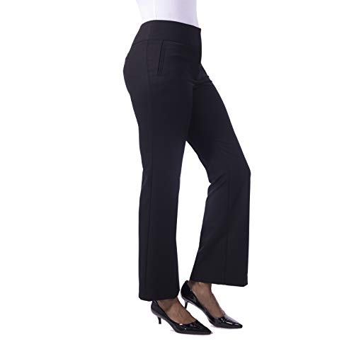 (Fundamental Things Women's Straight Leg Trouser with Tummy Control, Super Stretch with Fly Front, Black, Size 18)