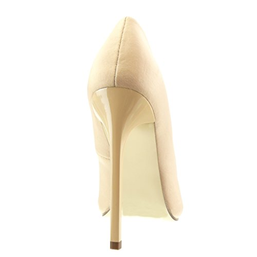 Angkorly - Chaussure Mode Escarpin stiletto sexy Chic femme Talon haut aiguille 12.5 CM - Beige