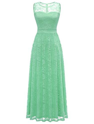 Wedtrend Women's Floral Lace Long Bridesmaid Dress Party GownWTL10007B-MintXXL
