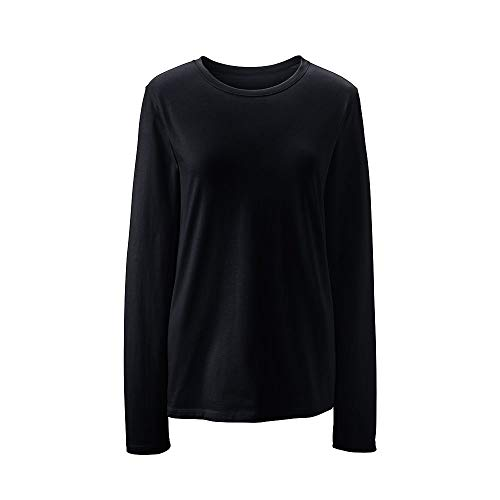 upima Cotton Long Sleeve T-Shirt - Relaxed Crewneck, M, Black ()