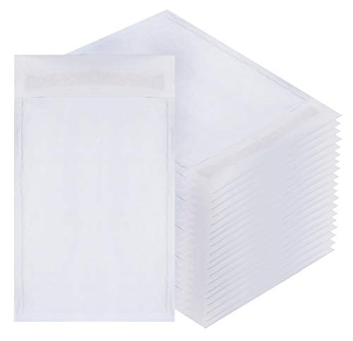 Amiff White Kraft Bubble mailers 6x9 Padded envelopes 6 x 9. Pack of 20 Kraft Paper Cushion envelopes. Exterior Size 7x10 (7 x 10). Peel and Seal. Mailing, Shipping, Packing.