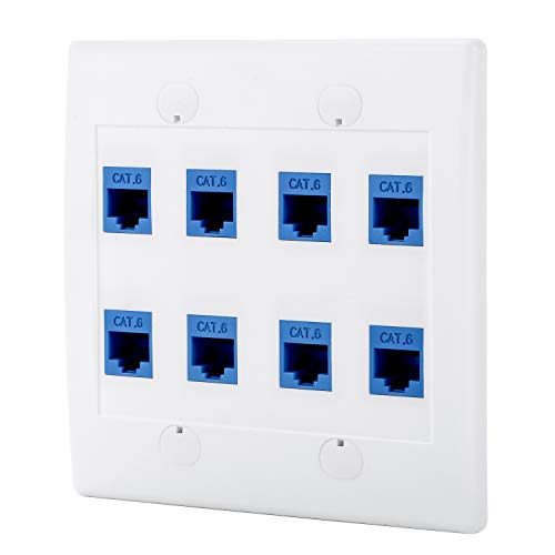 (Sancable - Ethernet Wall Plate, 8 Port Cat6 Keystone Female to Female - White)