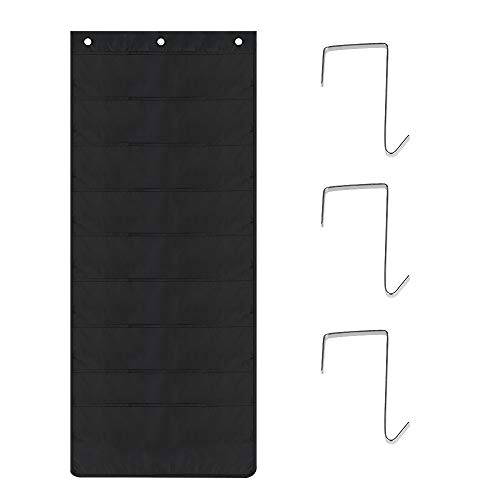 Storage Pocket Chart BUZIFU Hanging File Organizer with 10 Pockets 3 Over Door Hangers Included for Study/Classroom/Office(Black) by BUZIFU