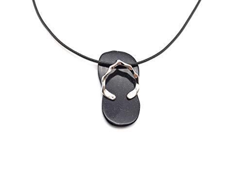 (xinpeng Healing Natural Stone Gemstone Crystal Hawaiian Sandal Summer Slipper Flip Flop Pendant Necklace 18 Inch Beach Jewelry for Women Men (Blue Sandstone))