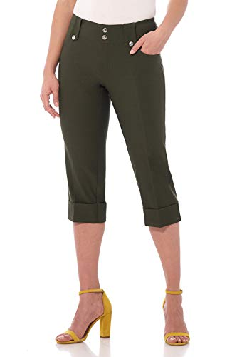 Rekucci Women's Ease in to Comfort Fit Modern Classic Cuffed Capri (8,Olive)