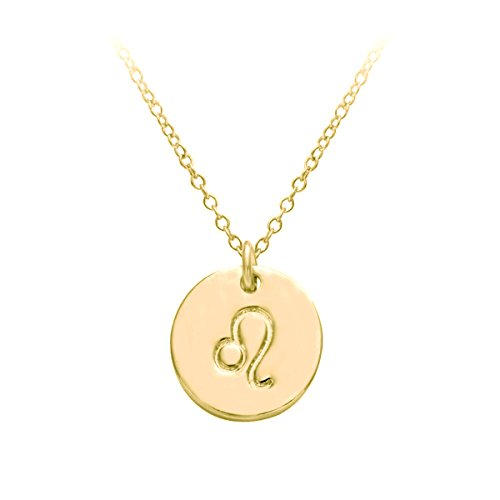 HACOOL 18k Gold Plated 12 Zodiac Sign Tag Constellation Horoscope Astrology Disc Charm Necklace Pendant - Charm Leo Pendant