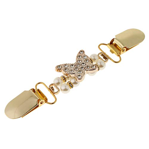 (Golden Flower Star Retro Sweater Cardigan Shawl Clip Clasp Metal Pin Brooch (Color - Gold Butterfly))