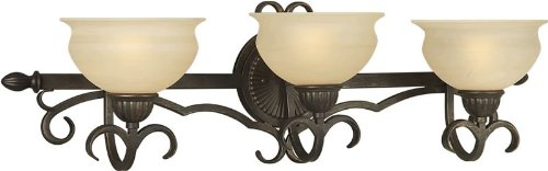 Bordeaux Bath Sconce (Forte Lighting 5222-03-64 Traditional 3-Light Vanity Fixture with Rustic Umber Glass, 15.5-Inch H x 9-Inch W, Bordeaux Finish)