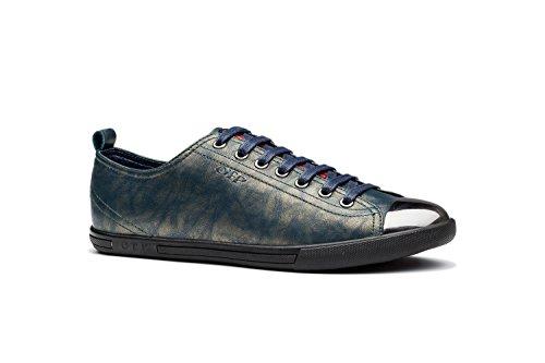 Scarpe Da Uomo Di Moda Casual Sneakers In Vera Pelle, Allacciate In Metallo Design Punta Verde