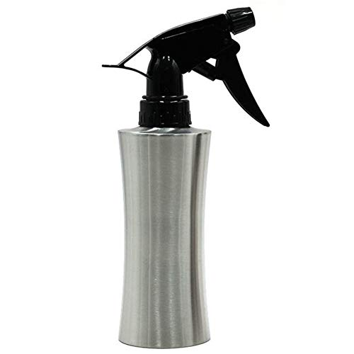 StaunchWea 220/250/400ml Stainless Steel Spray Bottle for Plant, Adjustable Press Nozzle Watering Can for Garden Indoor Flower Silver 220ml ()
