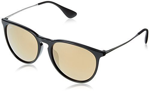 Ray-Ban Women's RB4171F Erika Sunglasses Shiny Black / Light Brown Mirror Gold 57mm by Ray-Ban