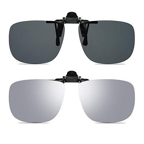 Wangly Polarized Unisex Clip On Flip Up Sunglasses Over Prescription And Reading Glasses Frames Suitable For Driving (Grey & Silver)
