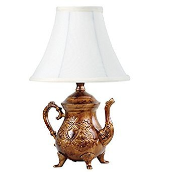 - Vintage Brushed Bronze Teapot Lamp with Shade