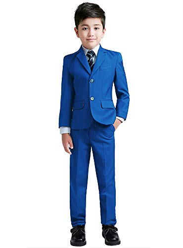 YuanLu Suits for Boys Toddler Tuxedo Slim Fit Teen Clothes Royal Blue Size 14]()