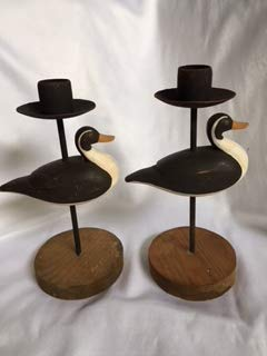 Metal and Wood Decorative Duck Candle Holder Set