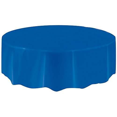 Round Royal Blue Plastic Tablecloth,