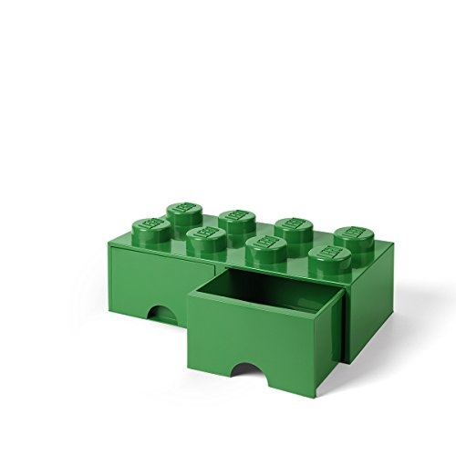 LEGO Brick Drawer, 8 Knobs, 2 Drawers, Stackable Storage Box, Dark Green