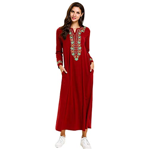 HYIRI Women's Muslim Robe Clothing Abaya Islamic Patchwork Arab Kaftan Dubai Dress Red -