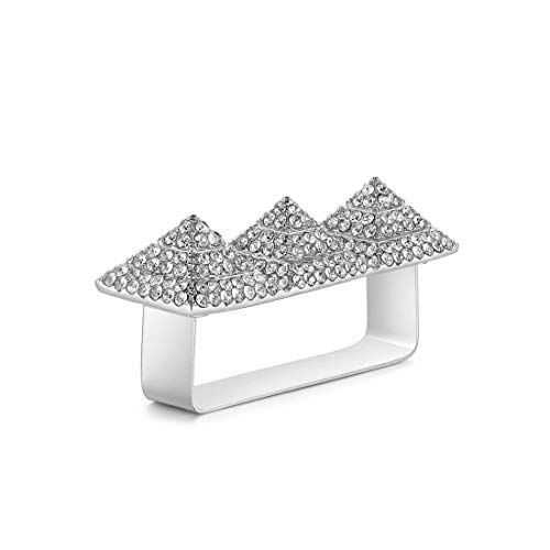 (Qiji Punk Alloy Pyramid Ring Blingbling Rhinestone Hip Hop Jewelry for Costume Party, Three Finger Size (Silver))