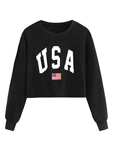 SweatyRocks Womens Crop Top Letter Printed Sweatshirt Hoodie