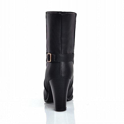 Carol Scarpe Donna Stile Britannico Fibbia Casual Moda Alta Tacco Grosso Stivali Da Equitazione A Breve Nero