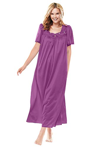 Only Necessities Women's Plus Size Long Silky Lace-Trim Gown - Radiant Orchid, 2X