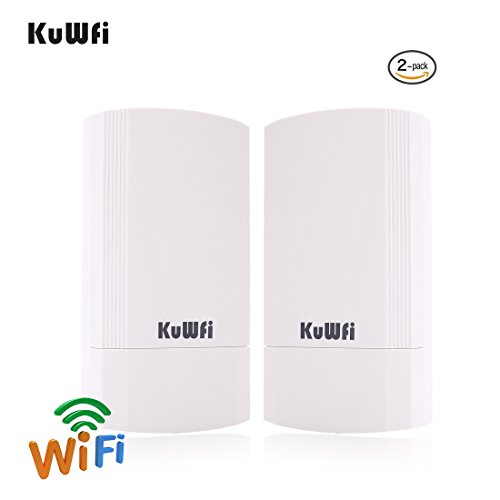 KuWFi Wireless WiFi Router 2-Pack, 450Mbps WiFi Bridge/Range Extender/Access Point Support 2KM Transmission Distance Solution with 2x10 / 100M LAN Port Wireless Outdoor Cpe Kit