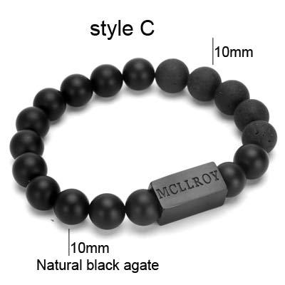 Bracelets & Bangles | 8Mm Natural Stone Beaded Block Bracelet | Men Bangle Handmade Custom Logo Men Jewelry (Style C)