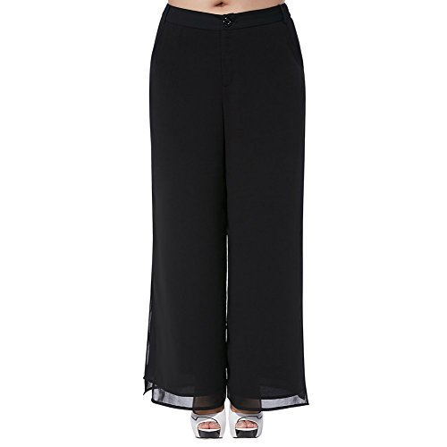 MSSHE Women's Chiffon Pants 5XL(T5) Black