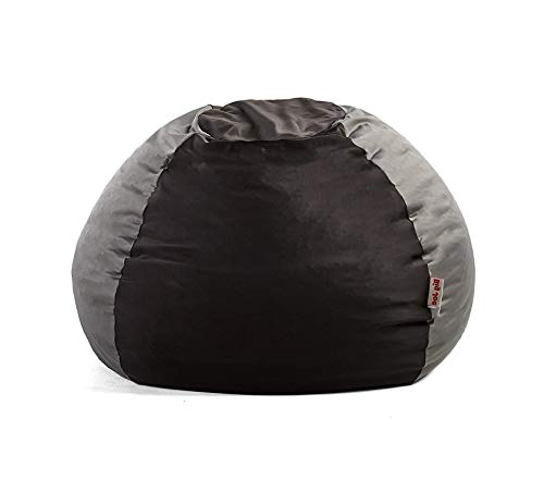 Deluxe Premium Collection Kushi Bean Bag Chair Jet Black/Charcoal Grey Decor Comfy Living Furniture