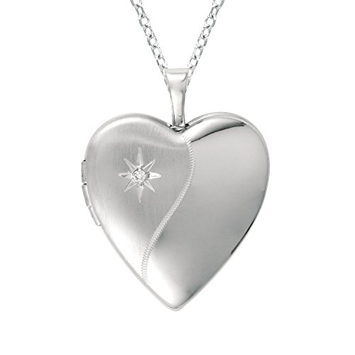 Sterling Silver and Diamond Heart Shape Starburst Locket Pendant for Women - Embossed, 16MM