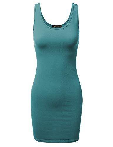 (Doublju Women's Basic Scoop Neck Sleeveless Bodycon Mini Tank Dress Teal 2XL Plus Size)