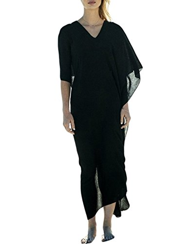 Ailunsnika Black Deep V Neck Swimsuit Cover Ups for Women Swing Sleeve Plus Size White Bikini Long Cover up Swimwear Dress