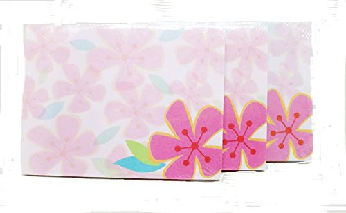 (Hawaiian Sticky Notes - Pink Hibiscus Flowers - 4x3, 50 Sheets, 3 Pack Notepads)