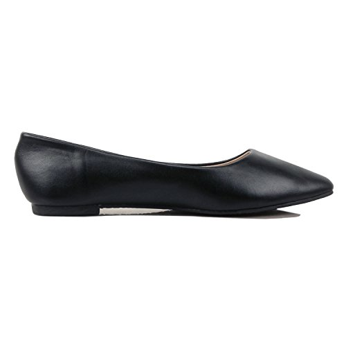 Womens Shoes Pu Guilty Slip On Pointy Casual Flats Comfortable Toe Classic Black Ballet Rqddw5