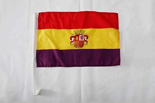 AZ FLAG Bandera de Coche ESPAÑA Republicana con Escudo 45x30cm - BANDERINA para Auto DE LA Republica ESPAÑOLA 30 x 45 cm: Amazon.es: Jardín