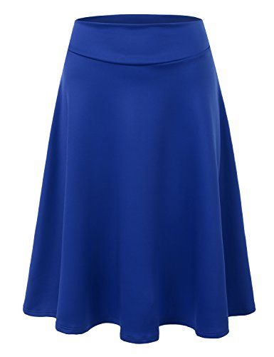 Doublju Elastic High Waist A-Line Flared Midi Skirt (Made In USA / Plus size available) ROYAL 3XL (A Line Skirts For Women)